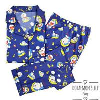 Baju tidur piyama wanita gambar doraemon navy