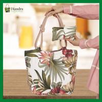 Diandra Collection//Tas Tote Bag Tropical Full Kanvas Resleting Wanita