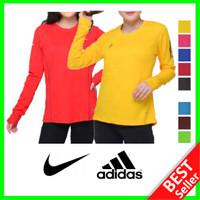 Kaos OlahRaga Wanita Lengan Panjang Baju Senam Lari Fitness Training - Merah, Nike Size L