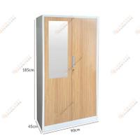 Lemari Pakaian Besi Full 2 Pintu Anti Banjir Motif Wood - Dengan Cermin