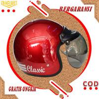 Helm Motor SNI Half Face Bogo Classic Kaca Cembung Murah - MERAH GLOSS, M