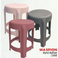 MASPION Kursi Rotan Rattan Bangku Plastik Tempat Duduk Chair Bulat