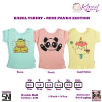 Kazel Tshirt MINI PANDA Edition - Baju Kaos Oblong Anak isi 3