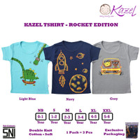 Kazel Tshirt ROCKET Edition - Baju Kaos Oblong Anak isi 3