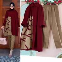 Setelan Syari Wanita Jumbo 2 in 1 Baju Muslim Wanita Marion Premium