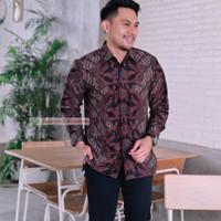 baju batik kemeja pria lengan panjang pendek modern pesta kantor murah - S