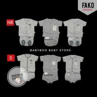 Fluffy Baby Setelan Pendek Newborn - Baju Bayi Putih Abu-abu 0-3m 0-3