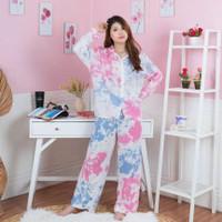 Baju Tidur Wanita Set Piyama Longsleeve Tye Dye Galaxy Kekinian