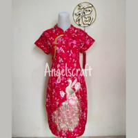 Dress Cheongsam Imlek Katun Remaja Dewasa (MERAK BUNGA DAUN EMAS)