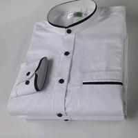 Baju kemeja pria kantor koko sanghai putih polos list hitam terhits