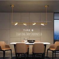 Lampu gantung led oval minimalis modern gold meja makan panjang - Tipe B