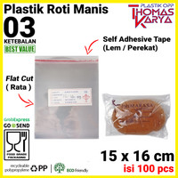 Plastik OPP LEM TIPIS 15x16 CM Bungkus Roti Undangan Kue Souvenir
