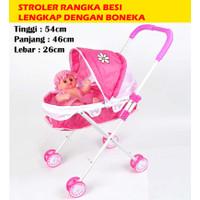 MAINAN ANAK BABY STROLER RANGKA BESI + BONEKA