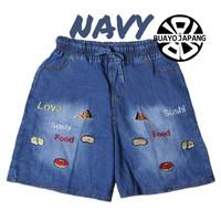 Celana Pendek Wanita Soft Jeans Bordir Bergambar Lucu - Navy non Rumbai, XL