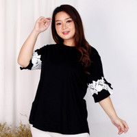FASHION WANITA - Blouse Atasan Adem Rayon Spandex Mix Super Big Agnes - Hitam
