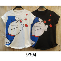 Kaos Doraemon baju anak remaja wanita dewasa muat size M sampai L