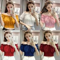 Atasan Sabrina Wanita / Baju Sabrina Crop Top / Model Cewe Korean