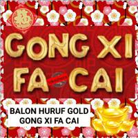 Balon Huruf Gong Xi Fa Cai Gold 40cm Balon Foil Emas Dekorasi Imlek