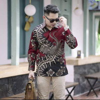 baju kemeja batik pria lengan panjang pendek modern pesta kantor