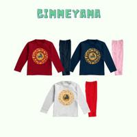 Piyama Baju Tidur Anak Laki Perempuan Imlek OX Gold Circle New Year - PutihMRH, S(2-3th)