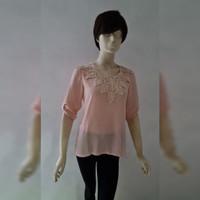 Woman Fashion Top Lace Blouse Soft Pink -Baju Atasan Wanita Merah Muda