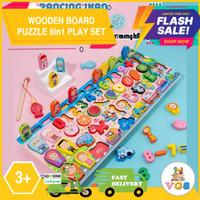 Mainan Edukasi Anak Papan Puzzle Kayu/Wooden Puzzle 8in1 Play Set