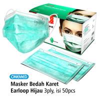 Masker Karet Hijau OneMed box 50pcs