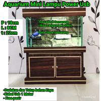 Aquarium Mini Kayu Lampu Usb Power cantik Akuarium kecil Pajangan
