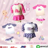 Baju Renang Bayi Perempuan / Baby Swimsuit 1-3 tahun BSP-003 - 12 bulan, Merah Muda