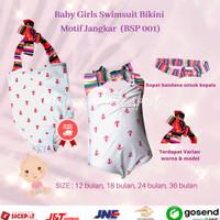 Baju Renang Bikini Bayi Perempuan / Baby Swimsuit 1-3 tahun BSP-001 - 12 bulan, Merah Muda