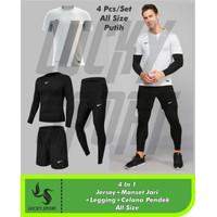 Paket 4 in 1 Baju Celana running Sepak bola jersey Legging pjg manset