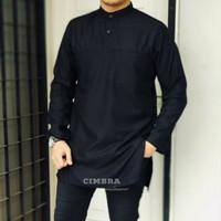 Baju Kurta Pria Lengan Panjang - Baju Koko Pria Fashion Muslim Naro - Hitam, M