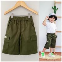 Celana Anak Cargo Pendek Littlebee Hijau Army Size 1-5Th - 1tahun