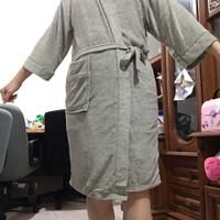 Kimono baju handuk dewasa polos abu-abu premium