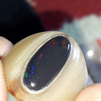 batu cincin tanduk bule kalimaya black opal asli banten