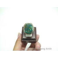 Cincin Batu Akik Pirus/Phirus Persia Hijau Urat Emas Multicolour Asli