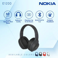 Nokia Wireless Bluetooth 5.0 Headphone / Headset with Mic E1200- Black