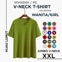 (promo)kaos polos wanita V-neck xxl