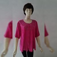 Woman Fashion Top Pink Floral - Baju Atasan Wanita Merah Muda