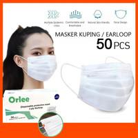 Masker 3 ply putih White Orlee Medis 3ply Earloop Kemenkes 3ply 50