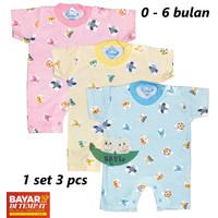 3 PCS Baju Bayi Hansop/Jumper/Romper lengan Pendek Warna RYN'S 0-6 bln