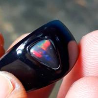 batu cincin kalimaya black opal solid asli banten