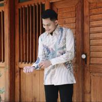 baju batik kemeja pria katun doby lengan panjang modern pesta kantoran