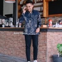 baju kemeja batik pria lengan panjang modern pesta kantor murah ARJ03 - XXL