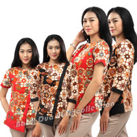 Batik Wanita Atasan Blouse Motif Bunga 2 Warna S-M-L--XL-XXL-3L-4L-5L - Merah, S