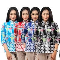 Batik Wanita Atasan Blouse Motif Ondel2 Warna S-M-L-XL-XXL-3L-4L-5L - Biru, S
