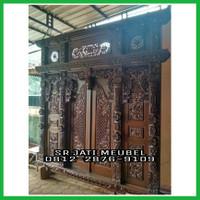 pintu gebyok ukir Kayu jati/pintu rumah jati