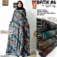 Gamis Dres Longdres Jumbo Batik Maxy Bahan Calvin Jeans/Baju Gamis
