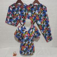 baju tidur piyama pajamas 3in1 wanita dewasa motif daun warna cantik - fanta daun