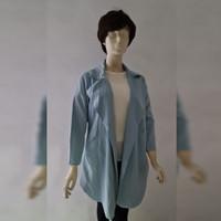 Woman Fashion Blue Outer Korean Style - Baju Luaran Wanita Biru
